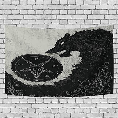 Tapiz colgante de pared, arte de lobo negro, tapiz de arte vintage, colgante de pared para sala de estar, dormitorio, decoración del hogar, 60 x 51 pulgadas