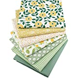 Hanjunzhao Fat Quarters Fabric Bundles,Print Floral Plaid Solid Quilting Fabric for Sewing Crafting,18 x 22 inches