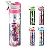 Skyocean Botella de agua deportiva con pulverizador de niebla, control de bloqueo, 650ml,mantener frío, tapa de boca ancha, cuerpo suave y exprimido, se abre con 1 clic