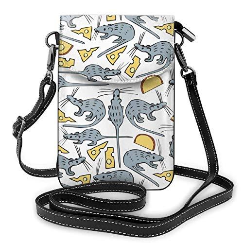 Lawenp Bolso de cuero para teléfono, ratón y queso, pequeño bolso bandolera, mini bolso para teléfono celular, bandolera para mujer