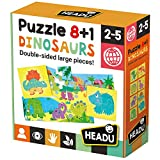 Headu- Puzzle 8+1 Dinosaurs Juego Infantil Educativo Animales Prehistóricos, Color Multiple (IT22243)