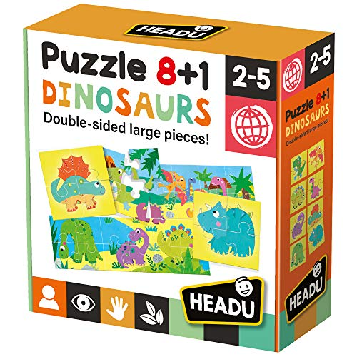 Headu- Dinosaurs Puzzle 8+1, Colore Multiplo, IT22243