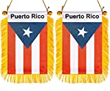 ZXvZYT 3 X 5 Inch Puerto Rico Window Hanging Flag Puerto Rican Small Mini Car Flags Banners Rearview Mirror Decoration - with Suction Cup & Golden Fringy Banner(2 Pack)