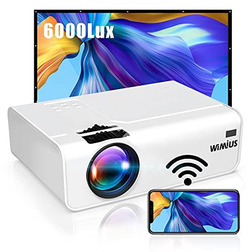 Proyector WiFi, 6000 Lúmenes WiMiUS Proyector WiFi Portátil Full HD Soporta 1080P Mini Proyector 720P Nativo 80000 Horas Proyector WiFi Cine En Casa para Telefono/iPad/PC/PS5 HDMI VGA AV TF USB