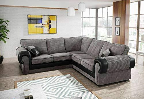 HHI | Corner Sofa Suite Grey Jumbo Cord | Grey Corner Sofa | corner sofas for living room | modern family | corner sofa bed | couches for living room