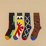 Generic Socken Bunt,Mann-Neuheits-Baumwollsocken-Plaid-Glückliche Kunst-Lustige Kühle Personalisierte Bunte Grafische Hip Hop-Straßenabnutzungs-Skateboard-Socken