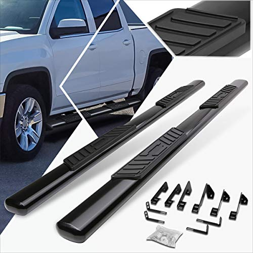 5 Inches Black Oval Running Board Side Step Nerf Bar Compatible with Silverado/Sierra Crew Cab 99-14