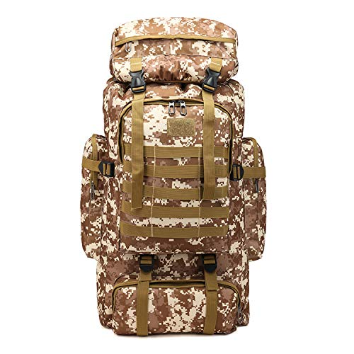 PULUSI Alta capacidad 80L camuflaje al aire libre Tartical Senderismo Daypacks impermeable Militar Bolsas para hombres Viajar Camping Caza Trekking Escalada Mochila, Hombre, verde caqui, 72*34*17cm