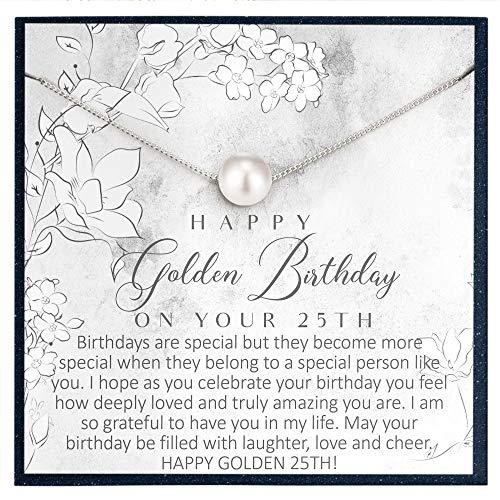 Regalo de cumpleaños para 25 años, regalo de cumpleaños para mujer de 25 años, regalo de regalo para su día 25 cumpleaños, joyería regalo para mujeres de 25 años, collar de perlas de Swarovski
