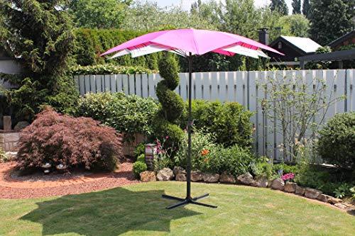 Leco Schirm Blüte pink/gestreift Sonnenschirm ca. Ø 270 x H 225 cm