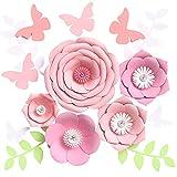 Houpoo - Decoraciones de Flores de Papel 3D sin Bricolaje (Juego de 9) Gran Tejido de Boda Flores Artificiales centros de Mesa telón de Fondo de cumpleaños decoración de Pared para guardería