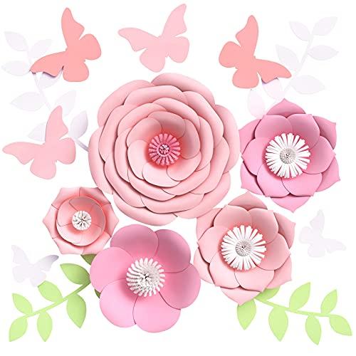 Houpoo - Decoraciones de Flores de Papel 3D sin Bricolaje (Juego de 9) Gran Tejido de Boda Flores Artificiales centros de Mesa telón de Fondo de cumpleaños decoración de Pared para guardería 🔥