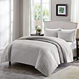 Comfort Spaces Kienna Quilt Set - Luxury Double Sided Stitching Design, All Season, Lightweight, Coverlet Bedspread Bedding, Matching Shams, Gray Full/Queen(90'x90') 3 Piece