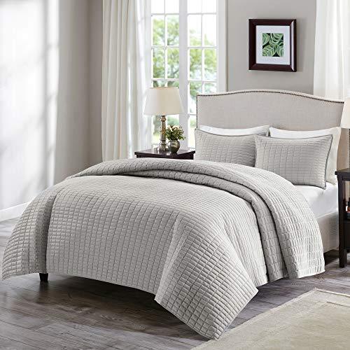 Comfort Spaces Kienna - Juego de edredón de lujo con doble cara, diseño de costura para todas las estaciones, ligero, colcha de cama,...