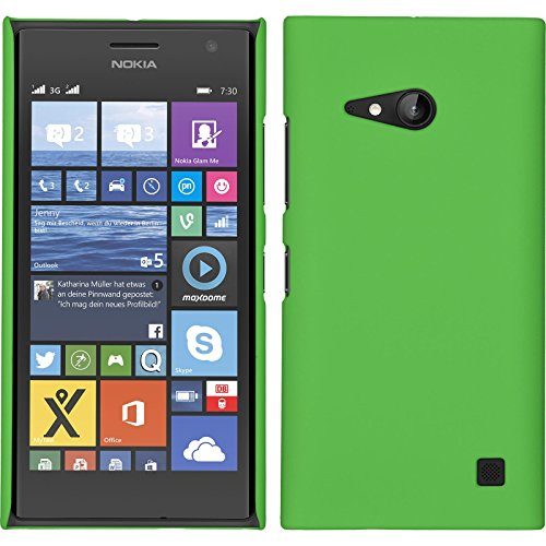 PhoneNatic Case kompatibel mit Nokia Lumia 730 - Hülle grün gummiert Hard-case + 2 Schutzfolien