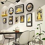 Madera Photo Picture Frame Set-montado en la pared Inicio Mall-retro Industrial Portarretratos pared + madera combinada de fotos Marcos + for Corredor de la sala + Juego de 11, de madera de múltiples