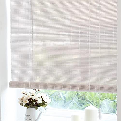 JLXJ Estor Enrollable Persiana Pérgola de Patio Blanca Persiana Enrollable, Filtrado de Luz de Bambú Protección UV Cortinas Enrollables para Balcón Porche, 70cm/90cm/110cm/130cm de Ancho