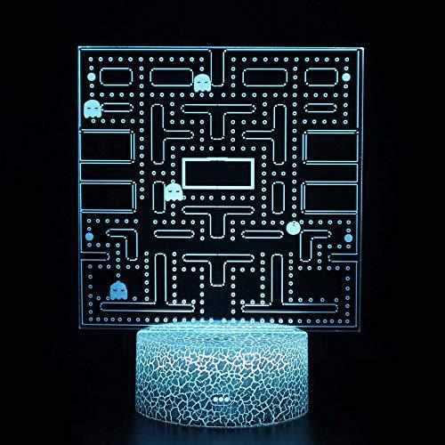 Luz nocturna para niños Lámpara 3D Ilusión Luz Nocturna LED con Cable USB y 7 funciones de cambio de color regalo de Navidad jóvenes, adultos, niñas Laberinto de juego-Touch+Remote