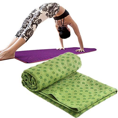 Rysmliuhan Shop Toalla de yoga antideslizante para ejercicio, toalla de yoga caliente, toalla de fitness, toalla antideslizante, toalla para yoga, esterilla de yoga, toalla de sudor, verde