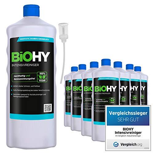 BiOHY Limpiador intensivo (9 botellas de 1 litro) + Dosificador | Limpiador industrial de alto rendimiento | Limpiador básico ideal para limpiadores de alta presión (Intensivreiniger)
