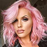 Light Purple Short Wavy Wigs for Women Part Side Bob Pink Curly Wig Natural Looking Shoulder Length Hair Replacement Wig Colord Pastel Wavy Wigs for Daily Party Synthetic Wigs 14inch (Pink)