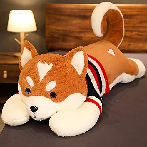 KXCAQ 80-100 cm Grande Husky Shiba Inu de Peluche de Juguete Animal Perro Almohada para Dormir para niños niña Lindo Juguete Regalo de cumpleaños 100 cm marrón2