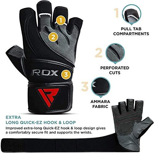 RDX-Gel Gewichtheben Bodybuilding Handschuhe Fitness Band Schulung Leder Schulung Gr. L - 2