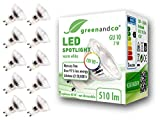 10x Spot LED greenandco® IRC90+ 3000K 36° GU10 7W (corresponde a 60W) 510lm SMD LED 230V AC, sin parpadeo, no regulable