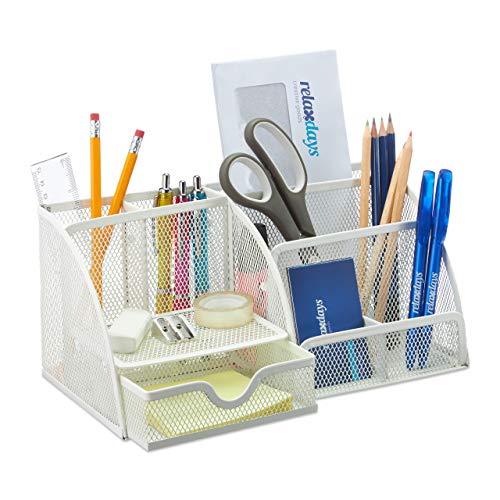 Relaxdays Schreibtisch, Büro Organizer mit Stiftehalter und Schublade, Metall Mesh, HBT 13 x 28 x 14 cm, weiß, 1 Stück