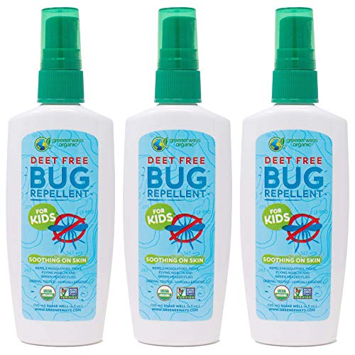 Greenerways Organic Bug Spray for Kids, Kid Friendly Natural Insect Repellent, USDA Organic, Non-GMO, Mosquito-Repellent, Bug Repellant, DEET-Free (4oz, 3 Pack)
