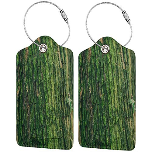 FULIYA Travel Luggage Suitcase Labels ID Tags Business Card Holder, Set of 2,Moss, Bark, Tree, Surface, Relief, Green