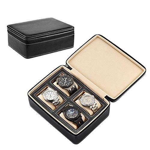 Kücheks Zipper Watch Storage Bag Handmade Portable Mini Mechanical Watch Storage Box Portable Travel 4 Grids Watch Box (Color : A)