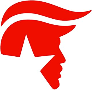 Donald Trump Face Hair Logo [Pick Any Color] Vinyl Transfer Sticker Decal for Laptop/Car/Truck/Jeep/Window/Bumper (3in x 3in (Laptop Size), Red)