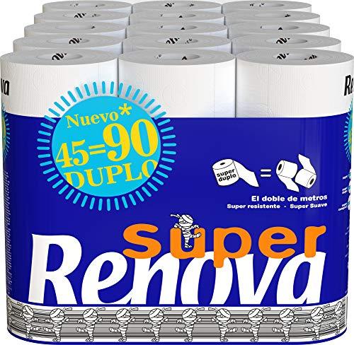 Renova Papel Higiénico Super Duplo, 45 Rollos Dobles (equivalentes a 90 rollos estándar), Blanco