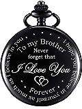 Pocket Watch Personalized Engraved for Brother, Retro Vintage Quartz Roman Numerals Pocket Watch with Chain for Men, Brother Gift Pocket Watch for Birthday Christmas Graduation (Black)