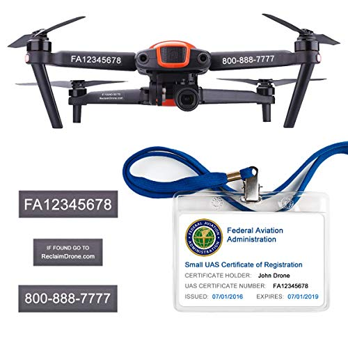 Price comparison product image Autel Robotics EVO - FAA Drone Identification Bundle - Labels (2 Sets of 3) + FAA UAS Registration ID Card for Hobbyist Pilots + Lanyard and ID Card Holder