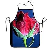 Not Applicable Delantal de Chef de Cocina Ajustable: Bala de Rosa roja Fresca, Delantal Comercial para Hombres y Mujeres para cocinar, Hornear, elaborar, jardinería, Barbacoa