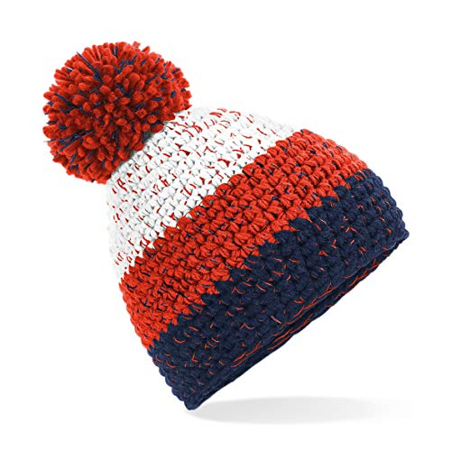 Beechfield Gorro Freestyle Beanie Unisex Woble Bobble Knitted Winter Warm Hat - Blanco/Rojo Fuego/Azul Marino Oxford