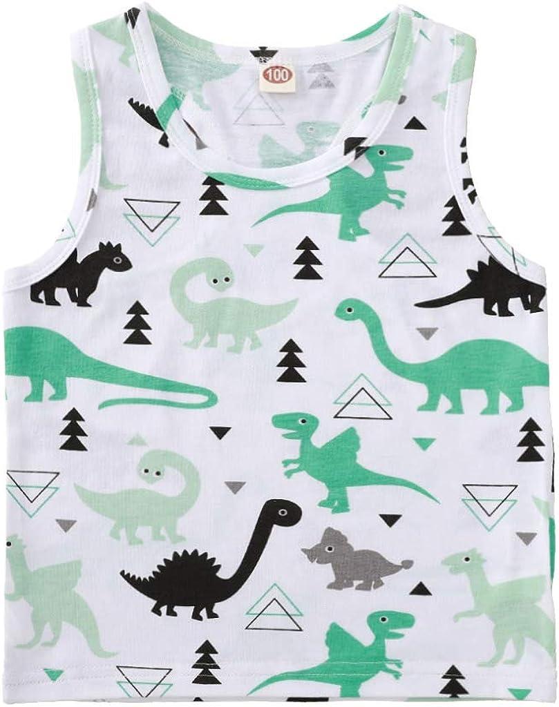 Infant Toddler Boys Dinosaur Print Tank Tops Baby Cotton Muscle Vest Sleeveless Tee Shirts