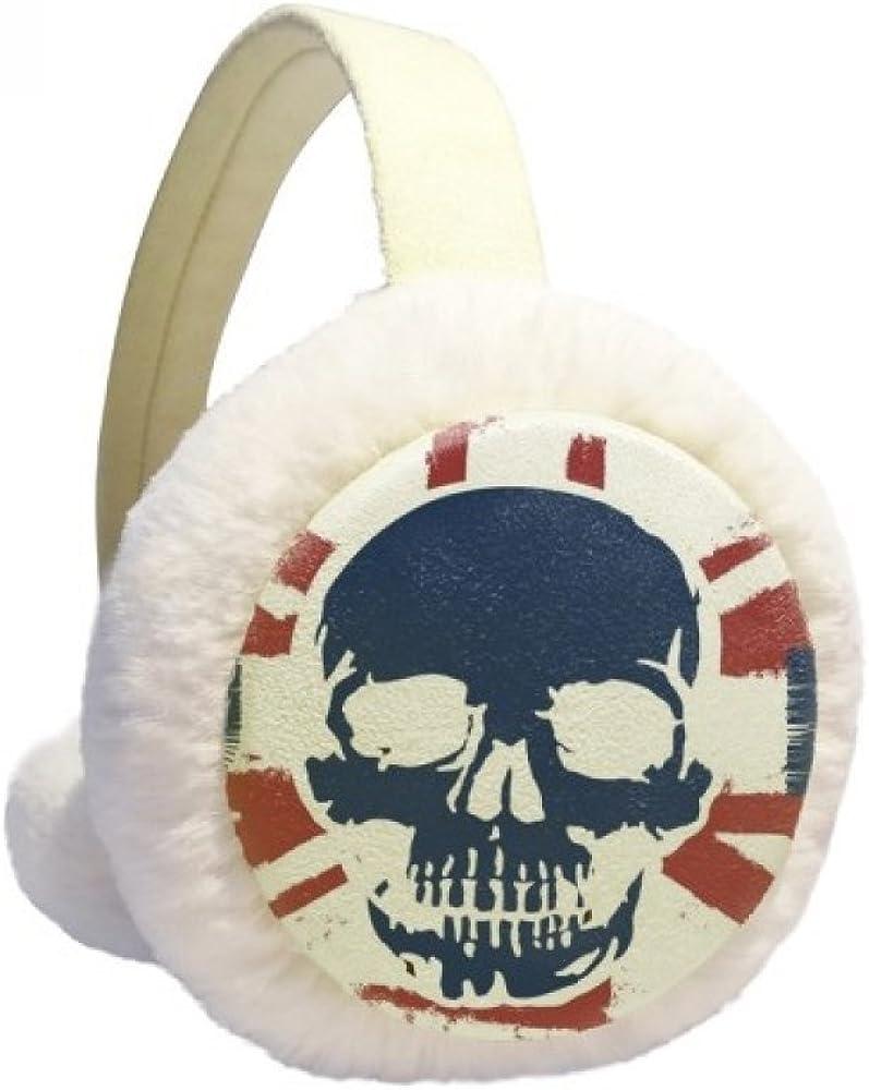 Human Skeleton UK the Union Jack Landmark Flag Winter Ear Warmer Cable Knit Furry Fleece Earmuff Outdoor