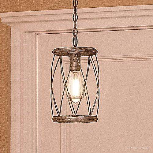 """Luxury French Country Pendant Light, Small Size: 11.25""""H x 6.5""""W, with Shabby Chic Style Elements, Gold Accented Silver Leaf Finish and Metal Lattice, Includes Edison Bulb, UQL2264 by Urban Ambiance"""