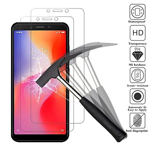 ANEWSIR [2 Pack Protector de Pantalla para Xiaomi Redmi 6 / Xiaomi Redmi 6A, Cristal Templado, Vidrio Templado película Protectora [Ultra-Transparente] [Resistente a Arañazos].