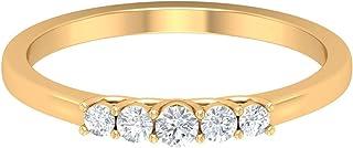 Anello con 5 pietre, unico anello nuziale, Hi-SI 1/4 ct forma rotonda diamante anello, anello nuziale impilabile, delicato...