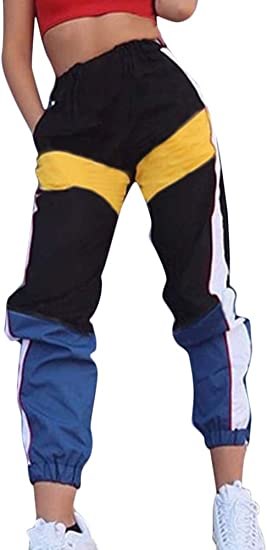 Romose Mujer Pantalones Cargo Color Solido Hip Hop Streetwear Pantalones Alta Cintura Harem Sport Sueltos Patchwork Jogger Pants Amazon Com Mx Ropa Zapatos Y Accesorios