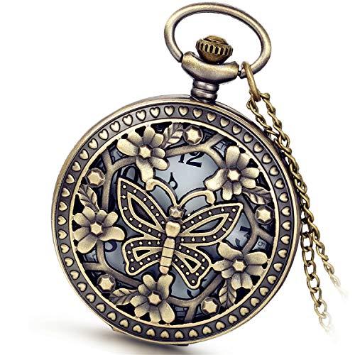 Avaner Antique Bronze Retro Hollow Butterfly Quartz Pocket Watch for Women Girls