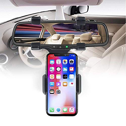 Grandwill Car Phone Mount, Car Rearview Mirror Mount Cell Phone Holder for iPhone X/8/8Plus/7/6s, Samsung Galaxy S8/S7/S6 Edge, Google Nexus, HTC, Huawei,GPS/PDA Devices And More (Black)