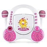 AUNA Rockpocket-A PK Equipo de Karaoke para niños - Reproductor de CD , Entrada AUX , Incluye...
