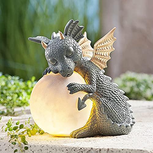 Garten Drachen Statue, Harz Ornament Outdoor Yard Dekoration, Solar Dragon Stein-ähnliche Statue mit Gazing Ball Outdoor Yard Dekoration (A)