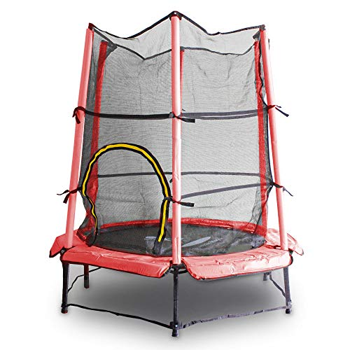 MS Point Kindertrampolin Gartentrampolin 140 cm Fitness Trampolin Komplettset für Indoor und Outdoor (Rot)