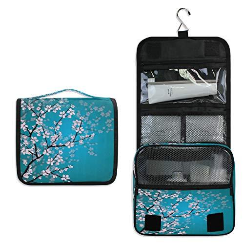 funnyy Trousse de toilette japonaise à suspendre motif cerisier en fleur de cerisier - Trousse de toilette de voyage - Trousse de toilette étanche pour femme et fille - Cadeau floral bleu